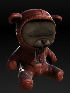 Terrifying Gay Teddy Bear In Leather Bondage Hoodie.