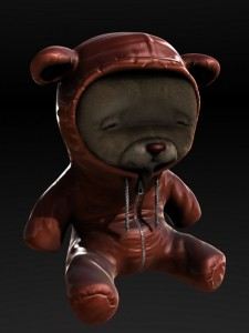Terrifying Gay Teddy Bear In Leather Bondage Hoodie.