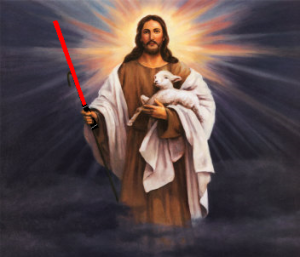 Soon To Be Sith Lord,  Jesus, With Light Saber And Pet Lamb, Snuffles.