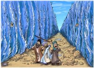 Red Sea Closing On Three Very Surprised Shepherds