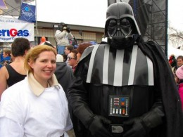 Tribune Political Reporter, Sally Getmeoff With Darth Vader