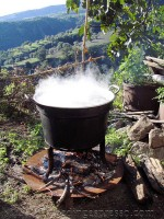 Man-Size Pot Of Boiling Oil