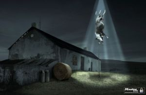 Real, Unaltered, HD Photo Of A Cow Obviously Being Abducted By Aliens For Perverse Sexual Purposes