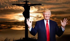 "Donald Trump Says, ""Like Jesus before me, I've come to this Earth to help angst-ridden, poorly educated white guys, and a few gals, take back America from pansy-ass liberals, and Republican Presidential candidates with Wicked Witch-like noses.   It's time, my fellow racists, misogynists, and xenophobes to put America back into the hands of racists, xenophobes, and misogynists.  Vote for me, and I'll outlaw all executive orders except the ones I decree.  God bless bigotry, and God bless the white, angry, American male!"""